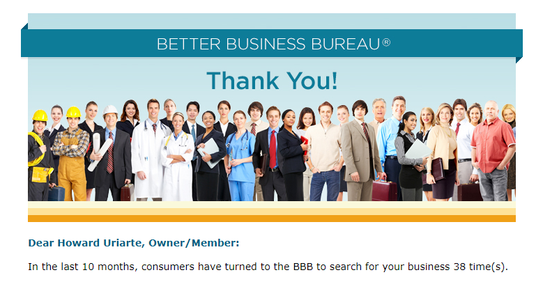 Better Business Bureau thanks Howard Uriarte